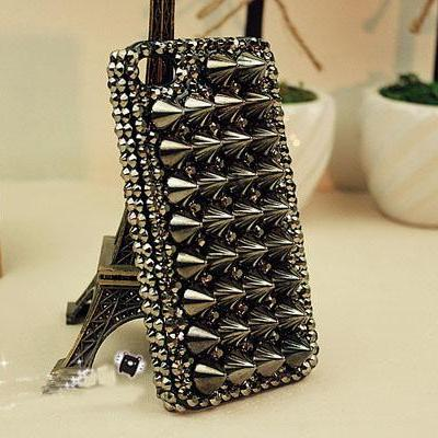 black punk studs case for iphone 4 ..