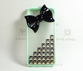 mint studded case a black bow for iphone 4 4s,iphone 5 5s ,iphone 5c,iphone 5c case custom punk silver studs case