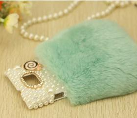 Iphone 6 case iphone 6 plus case , samsung note 2 case, samsung note 3 case,leopard grain Real Rabbit Hair Fur Plush Soft Leather Case cover ,